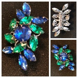 Vintage Blue & Green Crystal Rhinestone Brooch Pin
